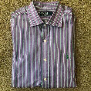 Polo Ralph Lauren Purple Stripe Dress Shirt Size M